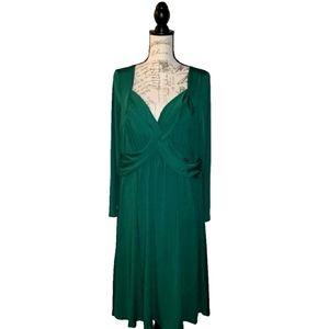 Rose Gal Size 2X, 18 Green Long Sleeve Dress
